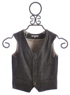 Blu Pony Vintage Girls Button Vest in Herringbone