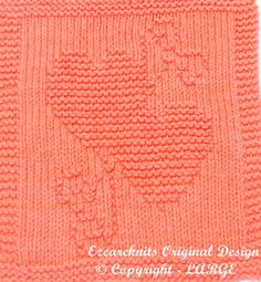 Knitting Cloth Pattern  TWO HEARTS  PDF by ezcareknits on Etsy