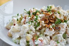 Waldorf Cottage Cheese Salad (E) This makes a quick, filling lunch, protein packed and super slimming! It comes together with no special ingredients needed and is tasty as all get out! www.TrimHealthyMama.com