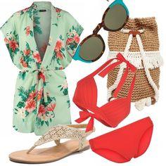 Kimono floreale, bikini rosso e sandalo infradito gold. Come accessori la sacca di paglia e corda e gli occhiali da sole Mr. Boho tartaruga e turchese per essere cool e avere stile anche in spiaggia.