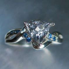 1.15cts Natural Rare white Danburite trillion cut & blue sapphires 925 sterling Silver engagement ring all sizes