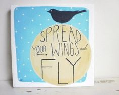 Spread Your Wings Quote Canvas Painting Inspirational Word Art Black Bird Silhouette Square Painting Kids Canvas Art Modern Folk Painting