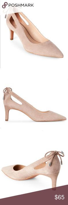 """COMING SOON‼️ FRANCO SARTO Mushroom Doe Pointed Toe Pumps. Suede upper, pointed toe, cutouts and bow detail, self-covered heel  Interior lining, cushioned insole, slip-on construction  2 1/4"""" heel  Leather upper, Man made balance  Imported Franco Sarto Shoes Heels"""