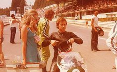 Soili & Jarno Saarinen,  a lovely married couple on the GP circus early 1970s. Spa Francorchamps 1971