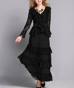 Black Lace Top & Maxi Skirt - Plus Too. Love the lace sleeves, ruffled tiers on the skirt, fitted yet drapy tie front top, and even the matching necklace and shoes.