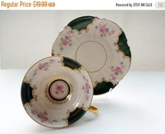 Vintage Tea Cup Saucer Flowers Germany Wedding by Passion4Europe