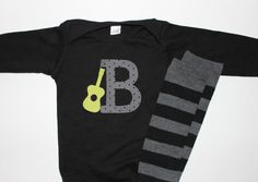 Baby Boy Initial and Guitar Bodysuit with Matching Black and Grey Stripes Leg Warmers Long Sleeve by firstcrushdesigns on etsy
