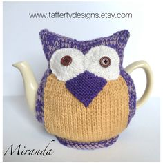 Excited to share this item from my shop: Owl Tea Cosy - Miranda - in pure wool & cashmerino mix - by Tafferty Designs - Size Medium fits teapots Tea Cosy Pattern, Tea Warmer, Tea Cosies, Tea Cozy, Teapots, Tea Towels, Hand Knitting, Owl, Etsy Shop