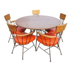 Richard McCarthy for Selrite Dining Table And Five Arm Chairs ❤ liked on Polyvore featuring home, furniture, chairs, dining chairs, mid century style furniture, mid century modern dining chairs, mid century modern kitchen chairs, mid-century modern furniture and midcentury furniture