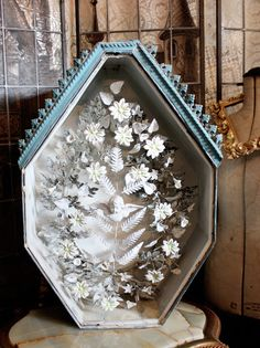 antique zinc  shadowbox shrine  french 18th century
