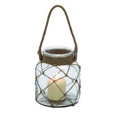 Add some coastal chic flair to your décor with the DecMode Rope Lantern Candle Holder - Clear . Jute rope netting covers the round clear glass. Glass Candle, Glass Jars, Candle Jars, Candleholders, Hanging Candle Lanterns, Lantern Candle Holders, Traditional Candle Holders, Grey Glass, House