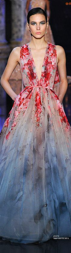 Elie Saab Haute Couture Fall 2014. Deep V neck with almost watercolor red colors fading into a blue skirt Mais