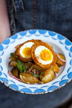 Chorizo Scotch Eggs with Paprika Spiced Potato Salad   DonalSkehan.com, The perfect portable picnic snack!