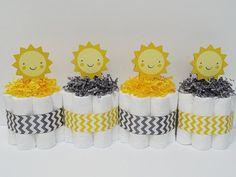 Yellow And Gray Chevron Sunshine Baby by LanasDiaperCakeShop