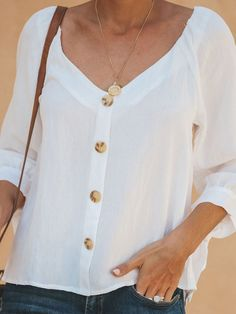 Casual Half Bat Sleeve V Neck Lapel Shirt look not only special, but also they always show ladies' glamour perfectly and bring surprise. Half Sleeve Shirts, Shirt Sleeves, Casual Skirt Outfits, Classy Outfits, White Chiffon Blouse, Plaid Shirt Women, Cotton Blouses, Women's Blouses, Linen Blouse