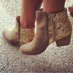 Sequin gold boots.