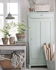 Painted Linen Cabinet - painted with Fusion Mineral Paint in the color 'Inglenook' - via Vibeke Design Farmhouse Remodel, Farmhouse Decor, Farmhouse Style, Modern Farmhouse, Swedish Farmhouse, Cottage Farmhouse, Cottage Chic, Swedish Decor, Scandinavian Style