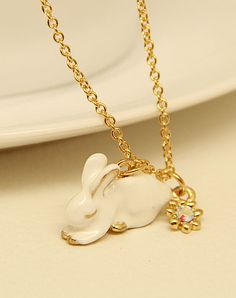 Gold Glaze Rabbit Chain Necklace - Sheinside.com Cute for #easter