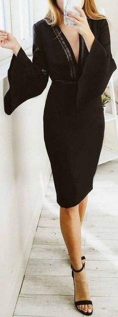Gorgeous  Sexy Black Midi Dress