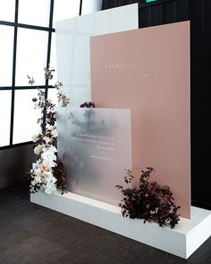 Beautiful modern rooftop event space with blush and black color scheme Wedding Signage, Wedding Venues, Event Signage, Party Venues, Wedding Backdrop Design, Modern Wedding Decorations, Wedding Backdrops, Stage Decorations, Event Decor