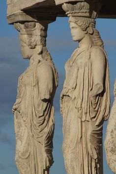The Porch of the Caryatids, Athens, Greece - Detail of the Acropolis in Athens. One of the view things that has been well preserved.