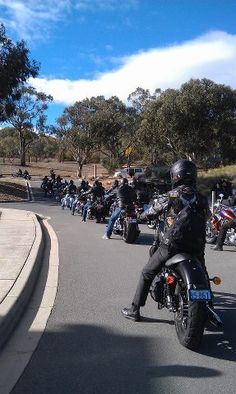 Soldiers on Harleys for a charity ride
