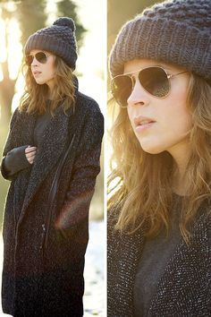 Pom pom hat (by Christine R. Little Fashion, Girl Fashion, Fashion Design, Poncho, Pom Pom Hat, T Shirt And Jeans, Shorts, Winter Wardrobe, Ray Ban Sunglasses