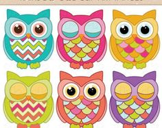 SALE - 25%OFF - 6 Rainbow Owl Clip Art Images - PNG - Instant Download - Invitations, Party, Baby Shower, Birthday, Scrapbooking