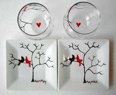 Items similar to Personalized Love Birds Date Night Collection - Valentine Plates and Wine Glasses Gift Set on Etsy Pottery Painting, Ceramic Painting, Painted Pottery, Sharpie Crafts, Sharpie Plates, Valentine Day Gifts, Valentines, Personalized Valentine's Day Gifts, Hand Painted Wine Glasses