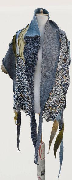 artsy wool felt knited shawl patchwork grey mustard blue