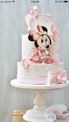 Mini Mouse Birthday Cake, Baby Birthday Cakes, Bolo Minnie, Minnie Mouse Cake, Christening Cake Girls, Bolo Fack, Rodjendanske Torte, Cake Templates, Fantasy Cake