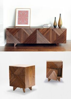 furniture designer Rosanna Ceravolo at Design : Made : Trade in Melbourne recently, and were instantly smitten by the detailed pattern and texture in her work, particularly the 'Enzo' cabinet and side tables, pictured above.