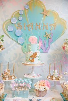 Cakescape from a Pastel Mermaid Birthday Party via Kara's Party Ideas   KarasPartyIdeas.com (43)
