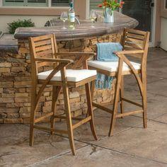 Anguilla Teak Finish Acacia Wood Outdoor Barstools