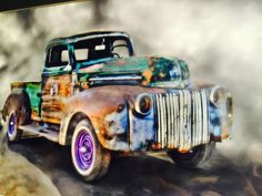Here , a 1947 Ford truck. This is an actual picture but done with an artistic flair by Trin Blakely.
