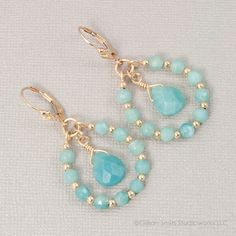 14K Gold filled amazonite beaded teardrop earrings, dangle, handmade, sea foam via Etsy.