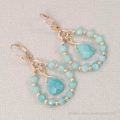 14K Gold filled amazonite beaded teardrop earrings, dangle, handmade, sea foam via Etsy.