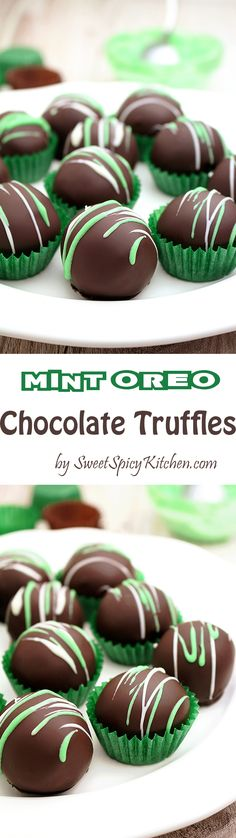 Mint Oreo Chocolate Truffles - simple, quick and so delicious, just perfect for St Patrick´s Day. Green, green and more green..happy St Patrick's Day. Enjoy