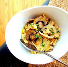 Upgrade your breakfast with yummy savory oatmeal recipes -- like this oatmeal with sautéed mushroom, onion and thyme