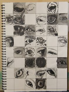 Eyes sketched in my visual diary as I formed ideas for further artworks.  Created: July 2004