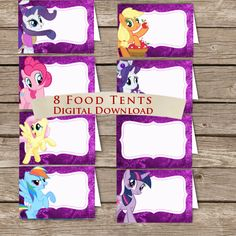 My Little Pony Food  tents! Place Holders! Digital download! My little Ponys Birthday! on Etsy, $1.75