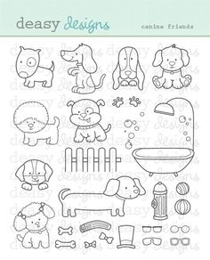 Digital Stamp Art Canine Friends by DeasyDesigns on Etsy Puppy Party, Art File, Digi Stamps, Animal Design, Clear Stamps, Doodle Art, Embroidery Patterns, Ribbon Embroidery, Machine Embroidery
