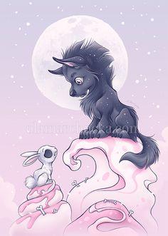 Wolf and Bunny by aleksandracupcake on DeviantArt Werewolf Girl, Princess Mononoke, Grim Reaper, Bedtime Stories, Tooth Fairy, Drawing Tools, Bunny, Kitty, Deviantart