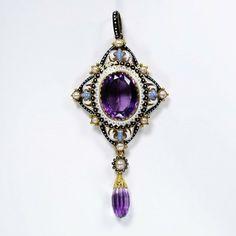 Pendant by Pasquale Novissom & Carlo Guilliano, enameled gold, amethyst & pearls. London, circa 1880.