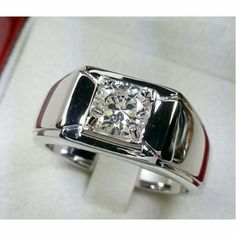 Mens White Gold Over Round Cut Solitaire Diamond Fashion Wedding Band Ring Diamond Solitaire Rings, Diamond Bands, Solitaire Engagement, Wedding Engagement, Solitaire Ring Designs, Emerald Diamond, Titanium Wedding Rings, Wedding Ring Bands, Mens Band Rings