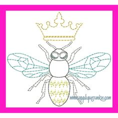 All Girls :: Vintage Queen Bee Embroidery Design
