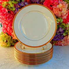 12 Beautiful Lenox Porcelain Dinner Plates ~ White ~ Gold Encrusted #Lenox & 6 Early Lenox Porcelain Luncheon Plates Windsor M161 Gold Encrusted ...