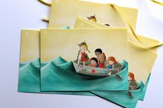 Cute Postcard - Children's Wall Art Print - Kids Decor - Boy or girl's nursery - Out to sea, boat, toddler - Viking boat - 4.1 x 5.8 in