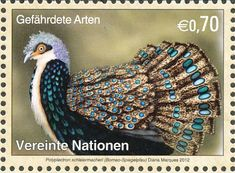 Bornean peacock-pheasant (Polyplectron schleiermacheri) stamp from United Nations.