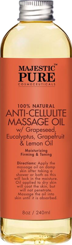 Majestic Pure Anti Cellulite Treatment Massage Massage Oil, Unique Blend of Massage Essential Oils - Improves Skin Firmness, More Effective Than Cellulite Cream, 8 fl oz